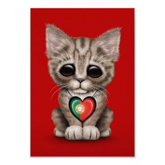 Cute Kitten Cat with Portuguese Flag Heart, red Announcements
