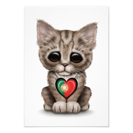 Cute Kitten Cat with Portuguese Flag Heart, white Personalized Invites