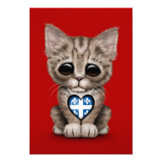 Cute Kitten Cat with Quebec Flag Heart red Custom Invitations