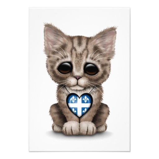 Cute Kitten Cat with Quebec Flag Heart, white Personalized Invites