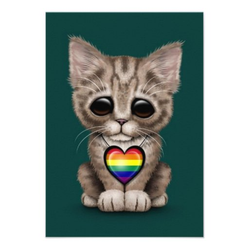Cute Kitten Cat with Rainbow Gay Pride Heart, teal Announcements