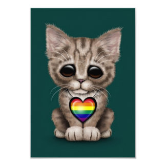 """Cute Kitten Cat with Rainbow Gay Pride Heart, teal 3.5"""" X 5"""" Invitation Card"""