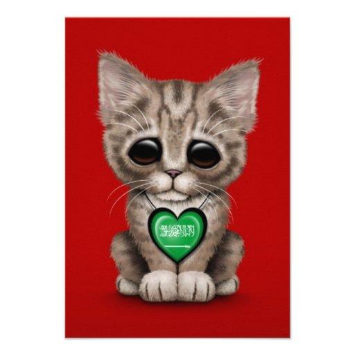 Cute Kitten Cat with Saudi Arabian Heart, red Custom Invitations