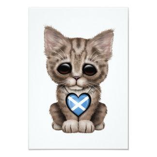 "Cute Kitten Cat with Scottish Flag Heart 3.5"" X 5"" Invitation Card"