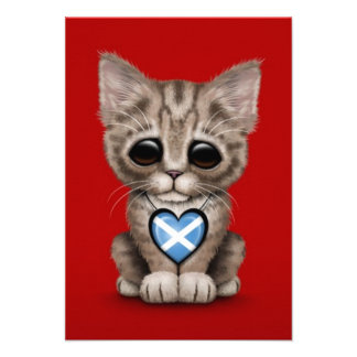 Cute Kitten Cat with Scottish Flag Heart red Personalized Invitations