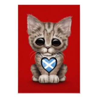 Cute Kitten Cat with Scottish Flag Heart, red Personalized Invitations