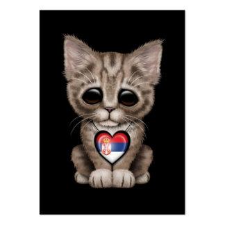 Cute Kitten Cat with Serbian Flag Heart, black Business Card Template
