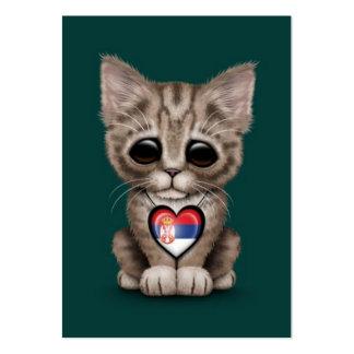 Cute Kitten Cat with Serbian Flag Heart, teal Business Card