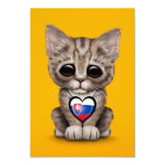 Cute Kitten Cat with Slovakian Flag Heart, yellow Invites