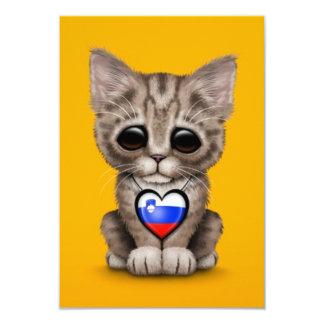 Cute Kitten Cat with Slovenian Flag Heart, yellow Announcements