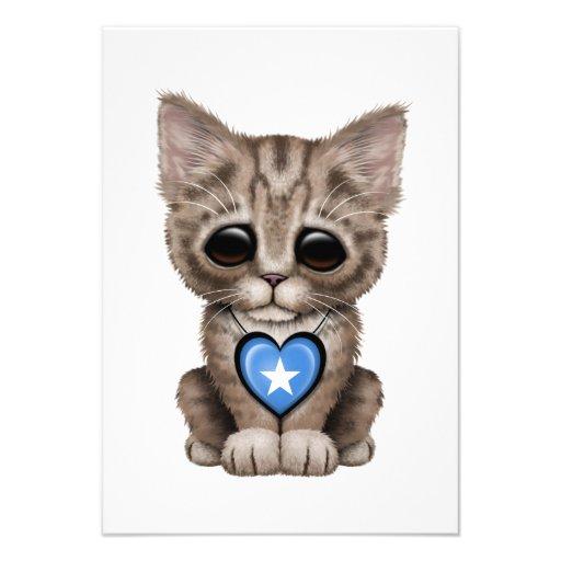 Cute Kitten Cat with Somalia Flag Heart Announcement