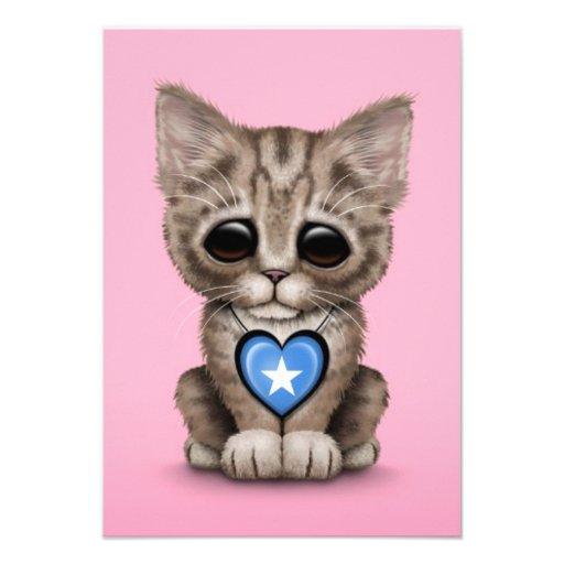 Cute Kitten Cat with Somalia Flag Heart, pink Custom Invite