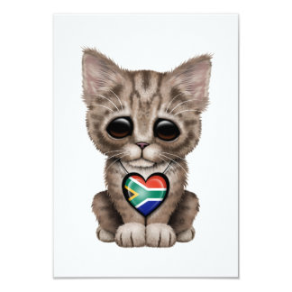 """Cute Kitten Cat with South African Heart 3.5"""" X 5"""" Invitation Card"""