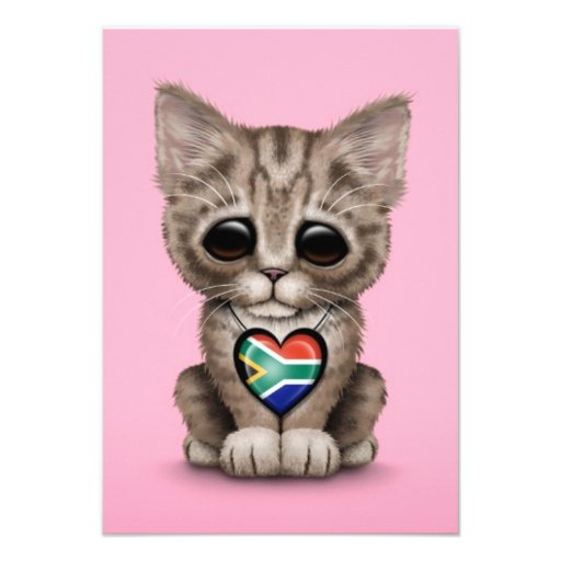 Cute Kitten Cat with South African Heart, pink Personalized Invitation