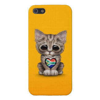 Cute Kitten Cat with South African Heart, yellow iPhone 5 Cases