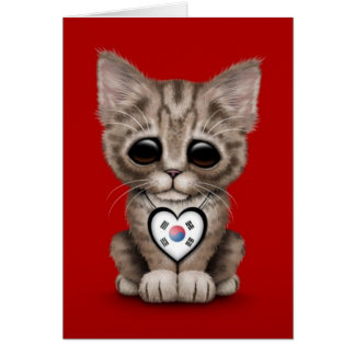 Cute Kitten Cat with South Korean Heart, red Card
