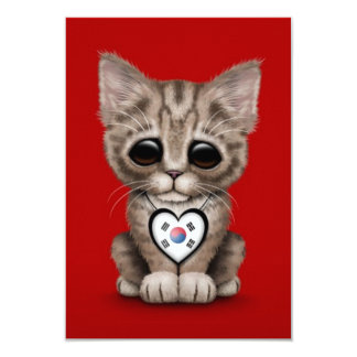 """Cute Kitten Cat with South Korean Heart, red 3.5"""" X 5"""" Invitation Card"""
