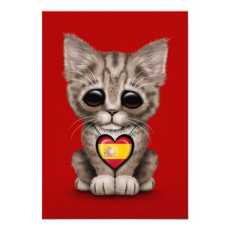Cute Kitten Cat with Spanish Flag Heart, red Personalized Announcements
