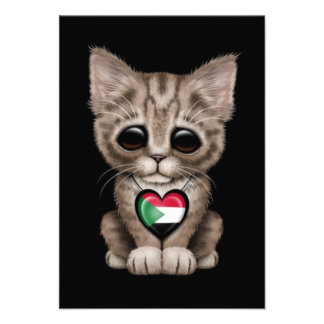 Cute Kitten Cat with Sudanese Flag Heart black Personalized Invites