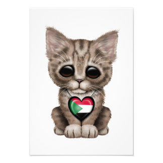 Cute Kitten Cat with Sudanese Flag Heart Custom Announcement