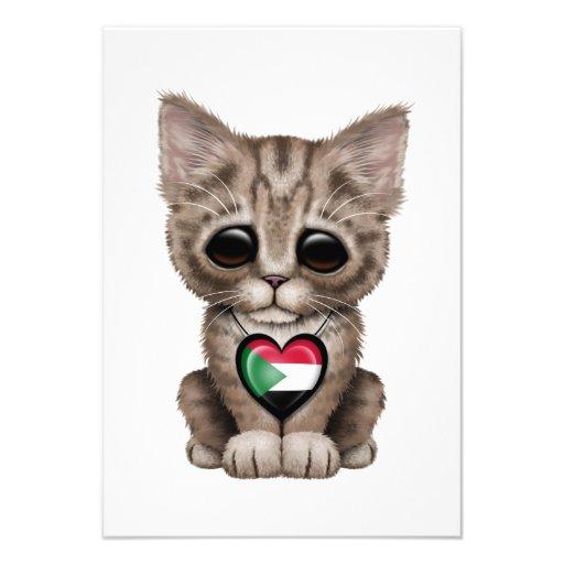 Cute Kitten Cat with Sudanese Flag Heart Custom Announcement