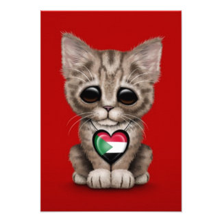 Cute Kitten Cat with Sudanese Flag Heart red Personalized Announcements