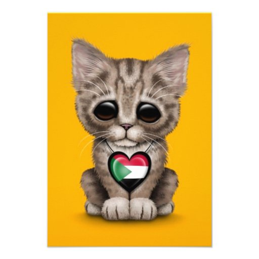 Cute Kitten Cat with Sudanese Flag Heart, yellow Custom Invitation