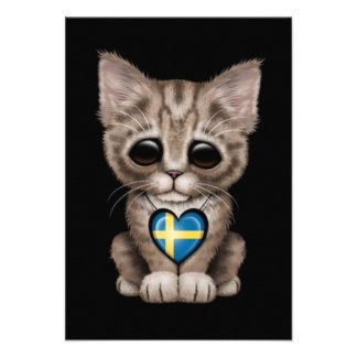 Cute Kitten Cat with Swedish Flag Heart, black Custom Announcements