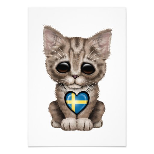 Cute Kitten Cat with Swedish Flag Heart Personalized Invitation