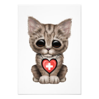 Cute Kitten Cat with Swiss Flag Heart Personalized Announcements