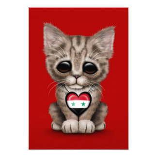 Cute Kitten Cat with Syrian Flag Heart red Announcements