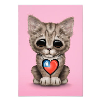 Cute Kitten Cat with Taiwanese Flag Heart pink Personalized Invite