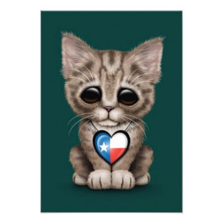 Cute Kitten Cat with Texas Flag Heart, teal Personalized Invites
