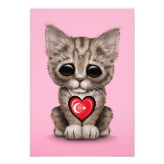 Cute Kitten Cat with Turkish Flag Heart pink Announcement