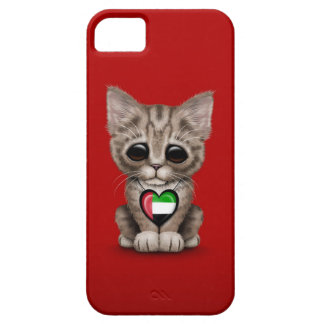 Cute Kitten Cat with UAE Flag Heart, red Case For The iPhone 5