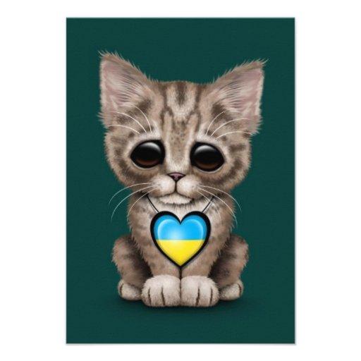 Cute Kitten Cat with Ukrainian Flag Heart, teal Invitations
