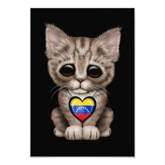 Cute Kitten Cat with Venezuelan Flag Heart, black Invite