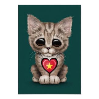 Cute Kitten Cat with Vietnamese Flag Heart, teal Custom Invite