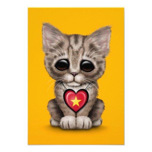 Cute Kitten Cat with Vietnamese Flag Heart, yellow Custom Invite