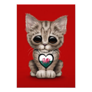 Cute Kitten Cat with Welsh Flag Heart red Custom Announcements
