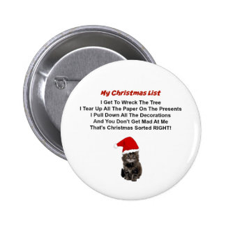 Cute Kitten Christmas Pin Button