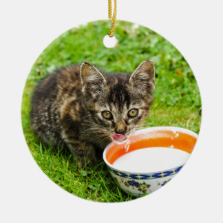Cute kitten drinking out of a bowl round ceramic decoration