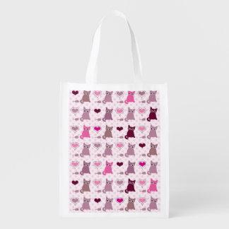 Cute kitten girls pattern reusable grocery bag