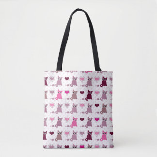 Cute kitten girls pattern tote bag