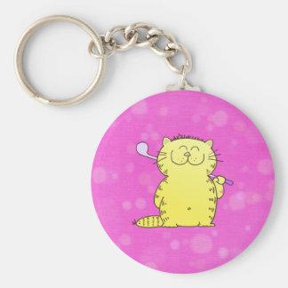 Cute Kitten Golf Basic Round Button Key Ring