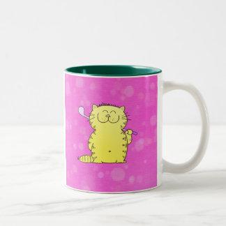 Cute Kitten Golf Two-Tone Mug