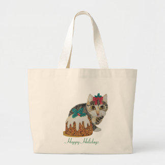 cute kitten gray tabby licking paw christmas large tote bag