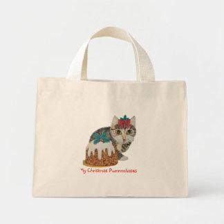 cute kitten gray tabby licking paw christmas mini tote bag