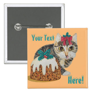 cute kitten grey tabby with pudding christmas 15 cm square badge