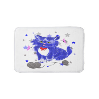 Cute kitten illustration bath mat